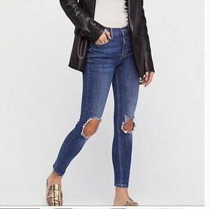 Free People Busted High Rise Distress Skinny Jean